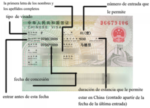 Visado para China
